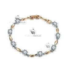 18k yellow white gold gf chain sparkling simulated diamond fashion bracelet
