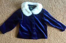 The Children's Place Blue Velvet Velour Jacket Faux Fur Collar Size 36 months
