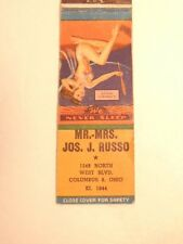 Early advertising match book cover w/ pin-up girl: Mr. & Mrs Jos. J. Russo