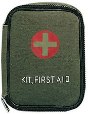 Olive Drab Military Zipper First Aid Kit with Supplies
