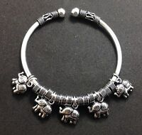 Tribal Artisan Sterling Silver 925 Bangle Cuff Elephant Charm Jewelry Bracelet