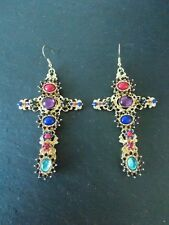 Gold and Multi-Coloured Jewelled Baroque Style Cross Earrings -UK SELLER
