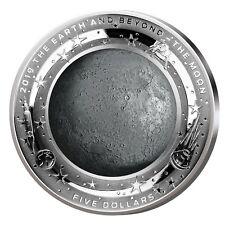Australien 5$ 2019 PP Earth & Beyond der Mond 999er Silber 1oz ø39,62mm