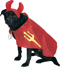 Dog Puppy Pet DEVIL COSTUME Diable Cape w/ Trident Pix & Horns Medium 14 16 inch
