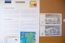"""SUPERBE BILLETS UNC + NOTICE PAYS - """" ESTONIE   """" ETAT NEUF ! 2 !(01/04/16)"""