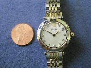 H38  ladys s,steel gold plate BULOVA   quartz watch bracelet