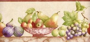 Abundance of Fruits Grape Vine Fig Tuscan Country Kitchen Wallpaper Border Decor