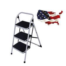 3 Steps Ladder Folding Slip Safety Tread Heavy Duty Industrial Black & White