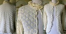 New listing Vtg 60s All Lace Stretch Layering Top White Yellow Daisies Ruffle Tie Collar
