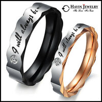 Couple Stainless Steel Ring Wedding Band Engagement Set Promise Love 4 ever