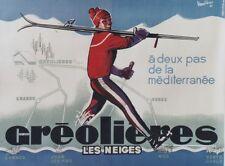 """""""GREOLIERES LES NEIGES"""" Affiche originale entoilée 1963 VANDIERES 120x160cm"""