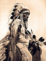"1930 NATIVE Cheyenne AMERICAN INDIAN, western, antique, Horse, photo 20""x14"""