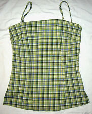 MARIA GABRIELLE NY Plaid Green Stretch Fitted Fit Summer Tank Tunic Top Shirt M