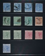 ST. KITTS & NEVIS, thirteen (13) Victorian stamps for identification, MNG & used