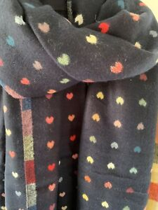 Navy And Multi Reversible Scarf With Little Jacquard Hearts