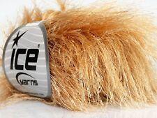 38Yd Latte Beige Extra Long Eyelash Yarn 42068 Ice Luxurious Blonde Fun Fur 50gr