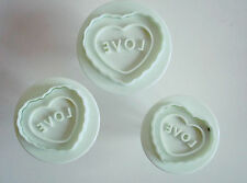 Love Heart Plunger Cutters Set of 3 Sugarcraft Cake Decorating Valentine Fondant