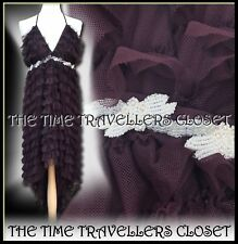 Kate Moss Topshop Aubergine Tulle Ruffle Hi-Low Dip Dress Luxury Ltd Edition UK8