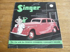 SINGER NINE, TEN, TWELVE  AND BANTAM CAR BROCHURE 1939