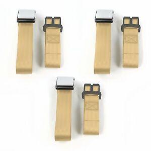 AMC 1958 1988 Airplane 2 Pt. Tan Lap Bench Seat Belt Kit 3 Belts hot