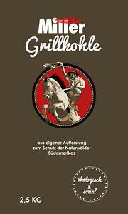 Miller Grillkohle 2,5 kg - nachhaltige Restaurant-Premiumqualität für Profis