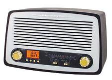 NOSTALGIE RETRO HOLZ RADIO MIT USB SD-CARD UHRENRADIO RADIOWECKER KÜCHENRADIO