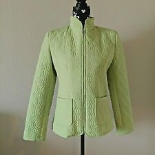 Womens Gallery Green Quilted Zipper Jacket Patch Pockets Size Small NEW NO TAGS