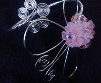 Bracelet acier bangle forme entelacée papillon cristaux autrichien étirable