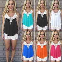 Womens Summer Sleeveless Vest Shirt Lace Crochet Blouse Casual Tank Tops T-Shirt