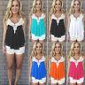 Womens Summer Sleeveless Vest Shirt Lace Crochet Blouse Casual Tank Tops T-Shirt