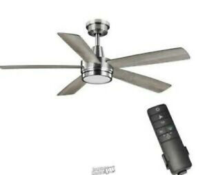 NEW HAMPTON Fanelee 54 in. White Color Changing Integrated LED Brushed Nickel
