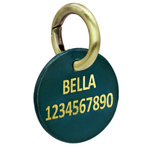 Custom Leather Pet Dog Tags for Dogs Engraved Personalized With Name & Telephone