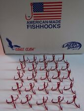 EAGLE CLAW LAZER-3X SHORT SHANK-2X STRONG-TREBLE HOOKS-RED-(25 PACK)-SIZE 10