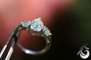 3.5CT Three Stone Moissanite Engagement Ring Pear Shaped 10K White Gold