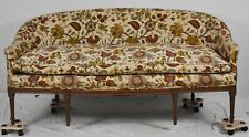 Sheraton Style Mahogany Settee Sofa Chintz Floral Fabric Federal Style