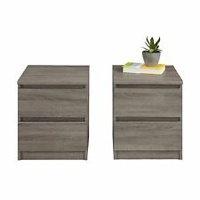 Truffle Brown 2 Piece Bedroom Two Drawer Nightstand Set Home Storage Furniture