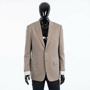 DIOR HOMME 2850$ Blazer With 'Christian Dior' Striped Cuffs In Beige Wool Twill