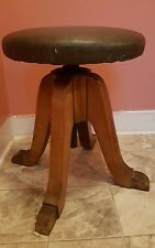 Vintage Arts & Crafts Adjustable Piano Organ Stool BY HAMILTON MFG CO USA