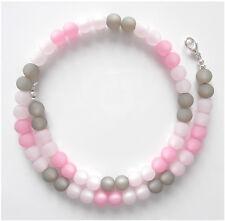 Halskette aus originalen Polarisperlen rosa pink grau Polaris Perlen Collier NEU