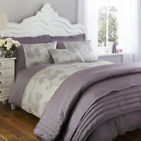 Luxury Antonia Plum Grey Percale Bedding Duvet Cover Cushion Cover Bed Throw