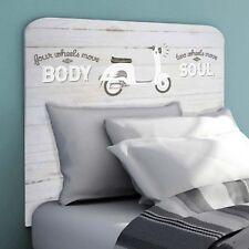 Cabezal cabecero para cama infantil blanco impresion moto Vespa 110x90 cm