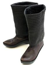 Robert Clergerie Brown Leather Boots Sz 5 Dutch Clog Inspired Rubber Soles Faire
