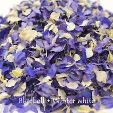 1200 + Delphinium confetti Petals biodegradable Natural bluebell + white  mix