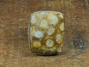 Natural Fossil Coral 925 Solid Sterling Silver Ring Size US 7.5 i623