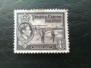 USED STAMP OF TURKS & CAICOS ISLANDS 1938 RAKING SALT 1/4d BLACK SG194.