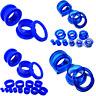 BLUE ACRYLIC Flesh Tunnel SCREW ON BACK Ear Plug Stretcher Body Jewellery Ear