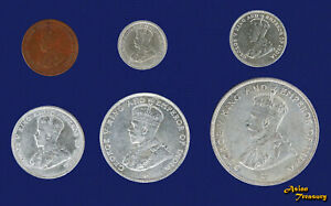 1920-1935 LOT OF 6 COINS BRITISH STRAITS SETTLEMENTS SILVER XF/AU KING GEORGE V