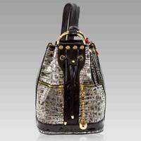 Marino Orlandi Designer Backpack Antique Siver Croc Leather Purse Bucket Bag