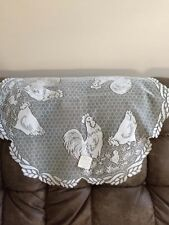 "Heritage Lace White  Rooster 30"" Round Table Topper NEW"