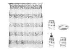 Popular Bath 5 Piece Sinatra WHITE Shower Curtain and Resin Bath Accessories Set